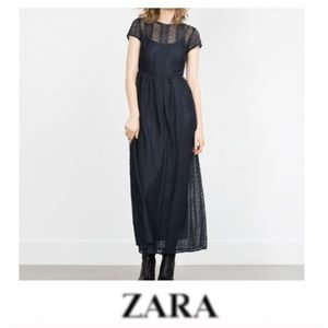 Zara Navy Lace Maxi Dress
